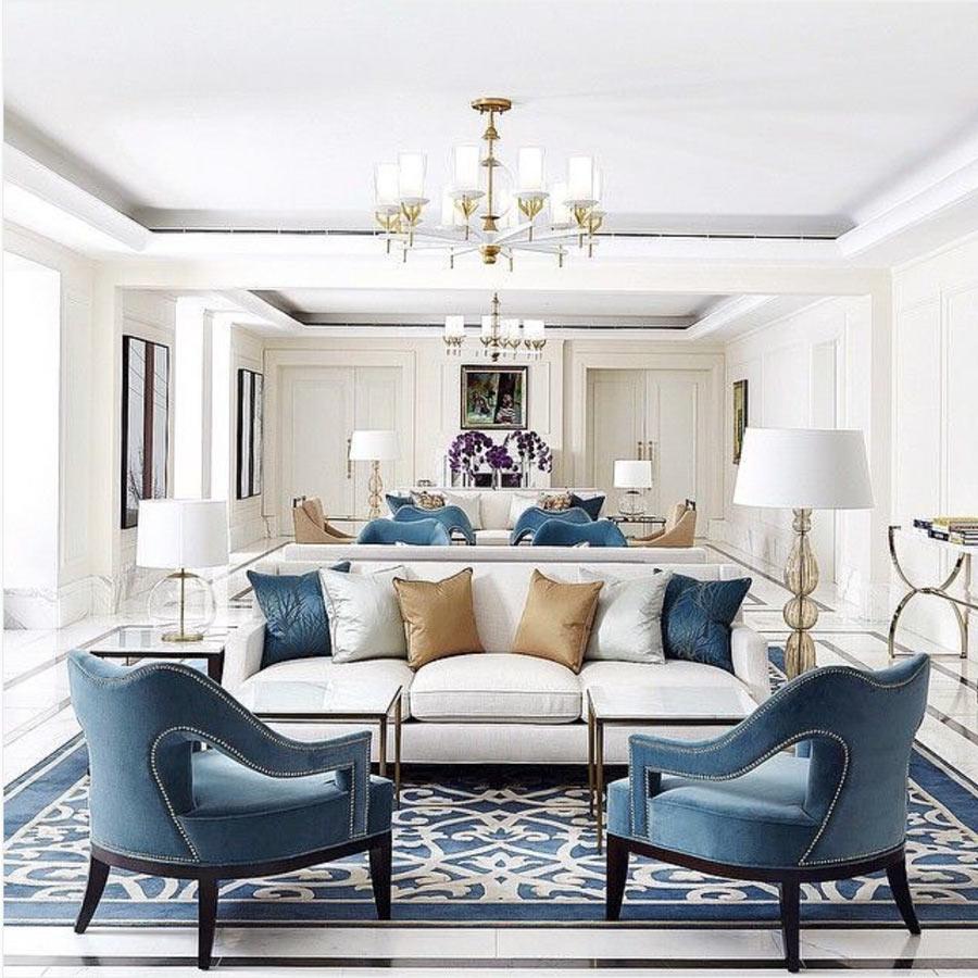 wohnzimmer ideen farbe blau
