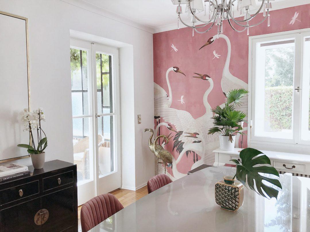 gucci-heron tapete wohnzimmer ideen
