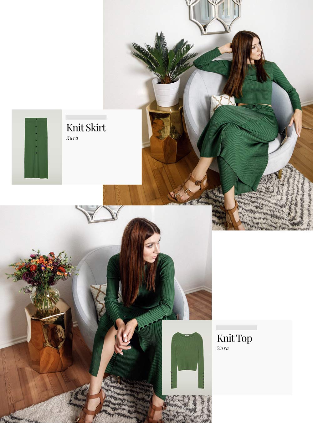blogger zara green knit 70ies