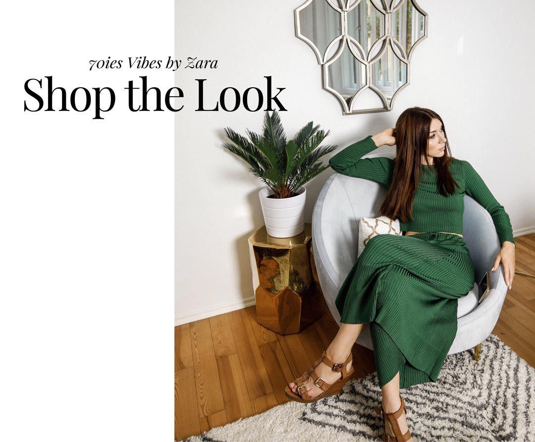 blogger zara green knit 70ies