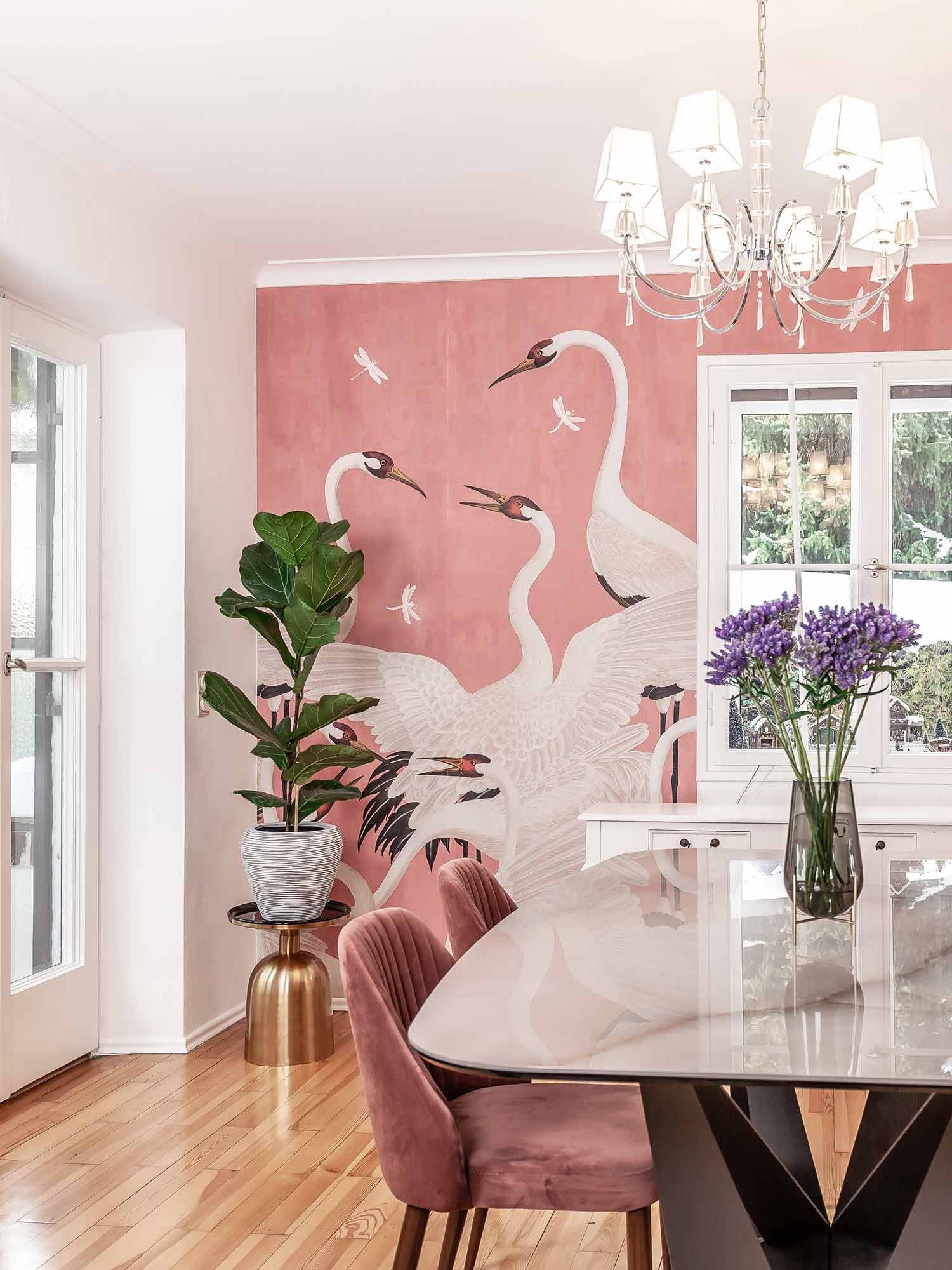 Gucci Decor Heron Wallpaper Tapete pink Trend
