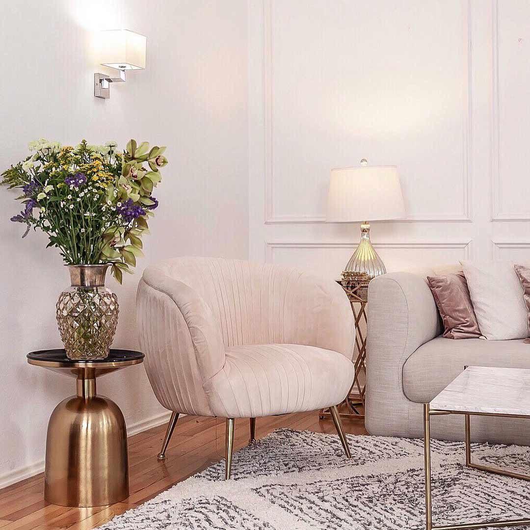 20er Jahre Kare Wohnzimmer Interior Trend Gold rosa