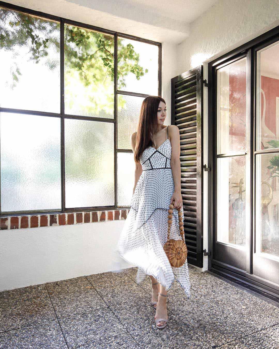 selfportrait-dress white polkadots blogger