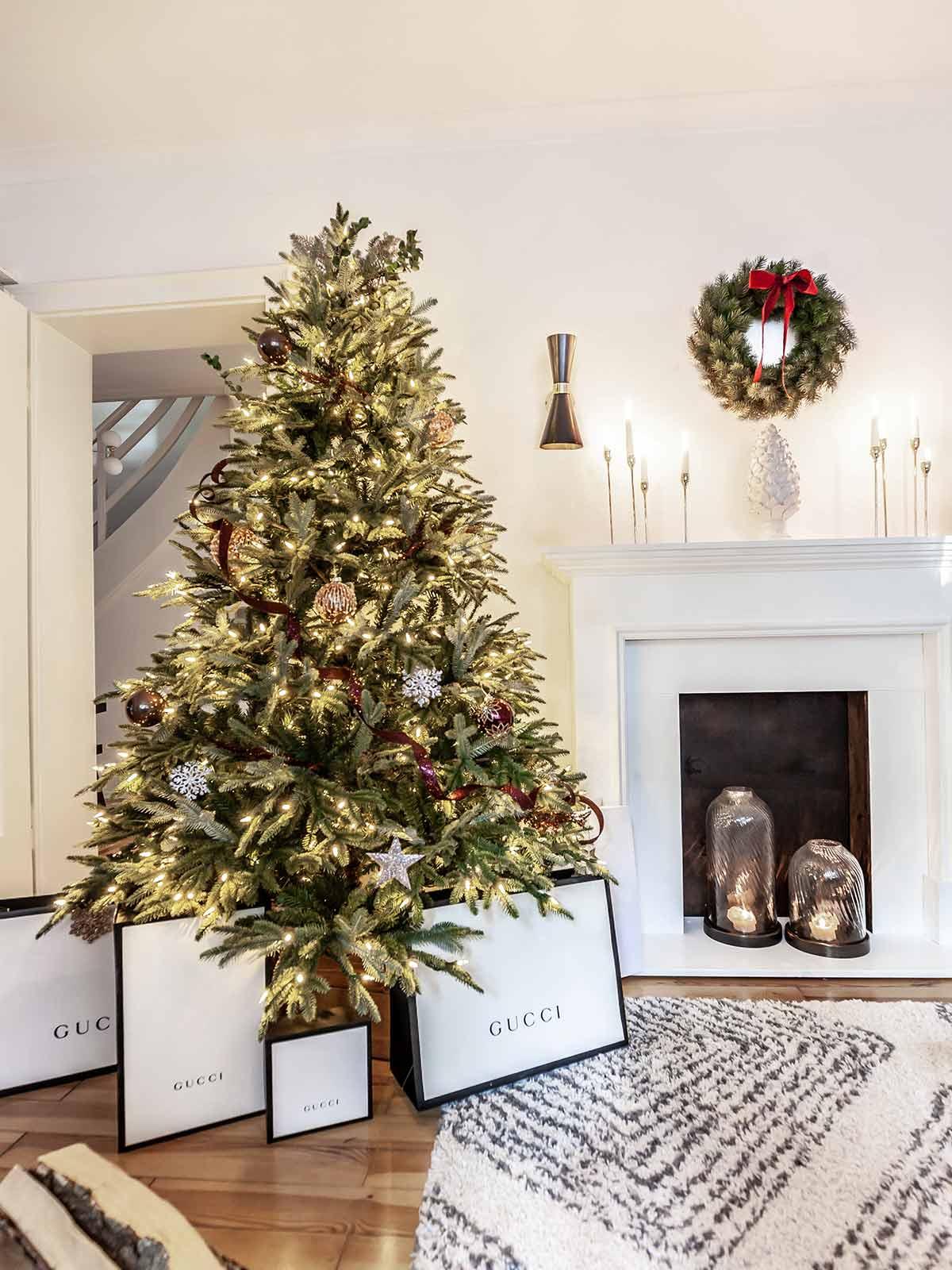 artificial christmas tree decor